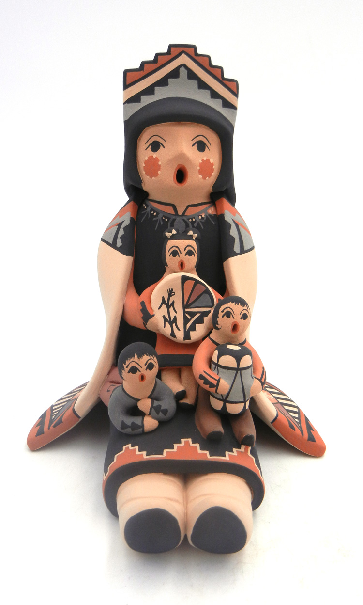 Jemez large seated storyteller with three children by Linda Lucero Fragua