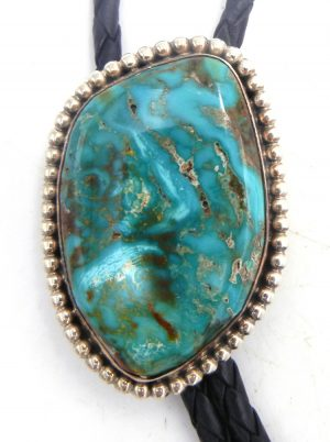 Navajo green turquoise and sterling silver bolo tie