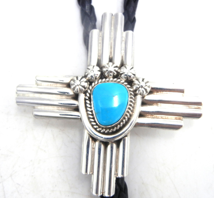 Navajo turquoise and sterling silver Zia symbol bolo tie