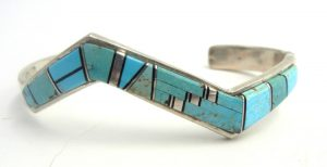 Navajo turquoise and sterling silver inlay zigzag cuff bracelet