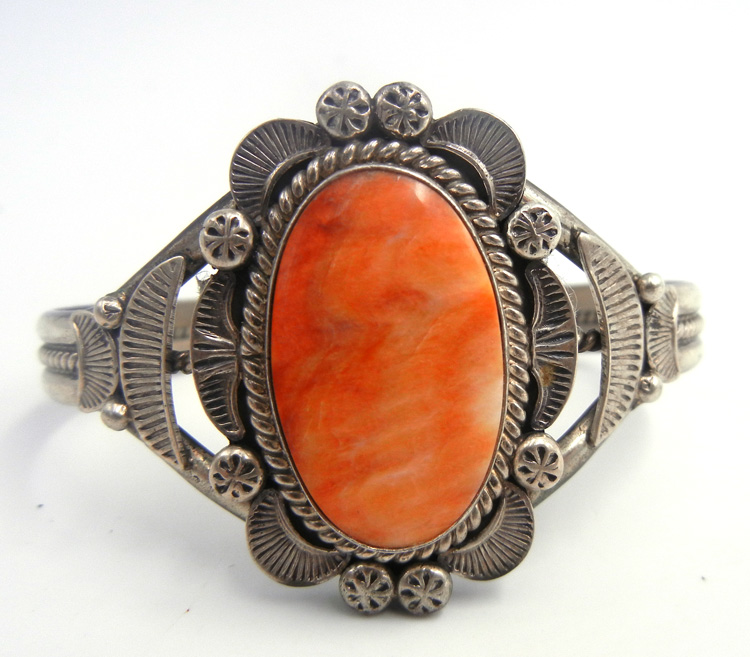 Navajo orange spiny oyster shell and brushed sterling silver cuff bracelet