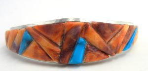 Navajo orange spiny oyster shell and turquoise cornrow inlay cuff bracelet