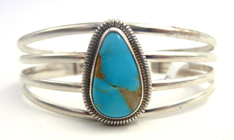 Navajo turquoise and sterling silver cuff bracelet