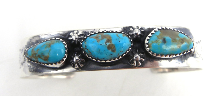 Navajo three stone turquoise and sterling silver cuff bracelet by James Martin