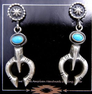 Navajo brushed sterling silver and turquoise naja earrings