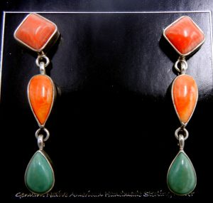 Navajo red and orange spiny oyster shell, turquoise and sterling silver dangle earrings