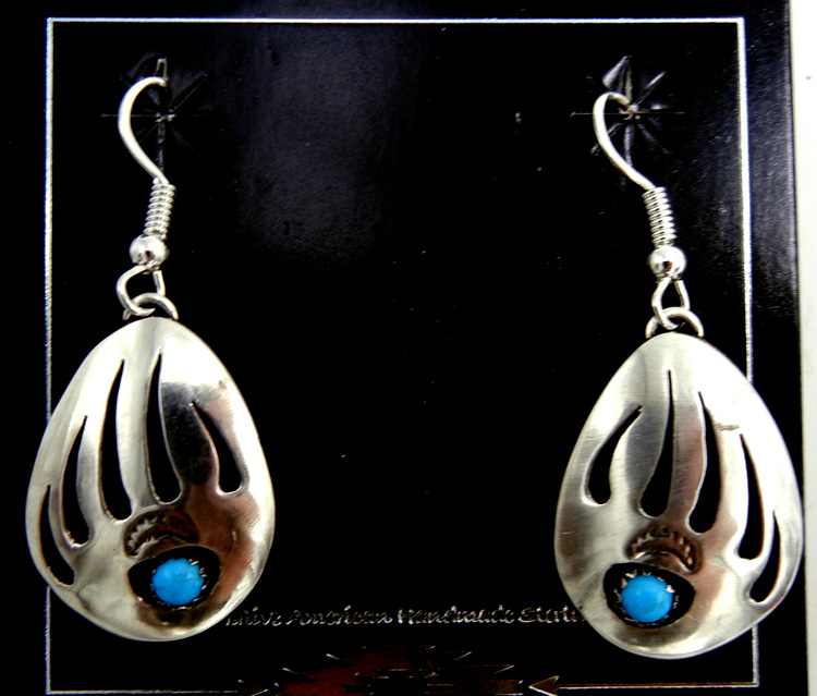 Navajo shadowbox style sterling silver bear paw earrings with turquoise