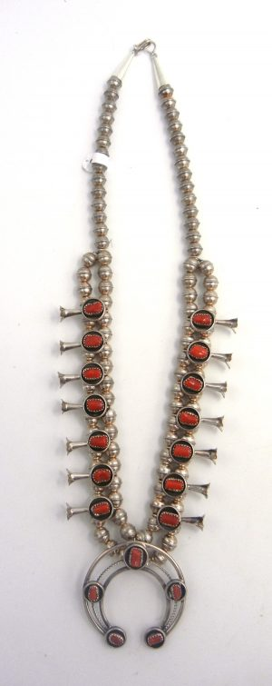 Navajo coral and sterling silver squash blossom necklace