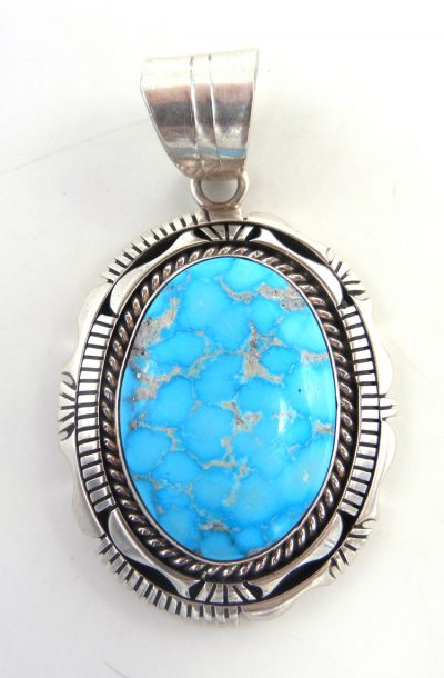 Navajo Blue Ridge turquoise and sterling silver pendant by Eugene Belone