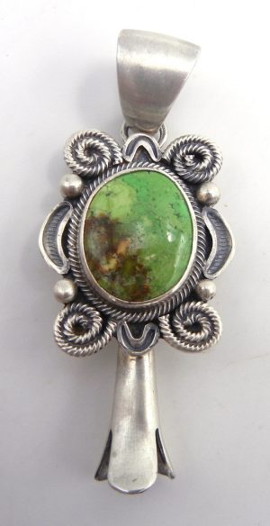 Navajo Gaspeite and sterling silver squash blossom pendant