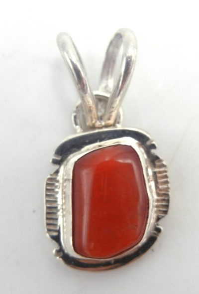 Navajo small coral and sterling silver pendant