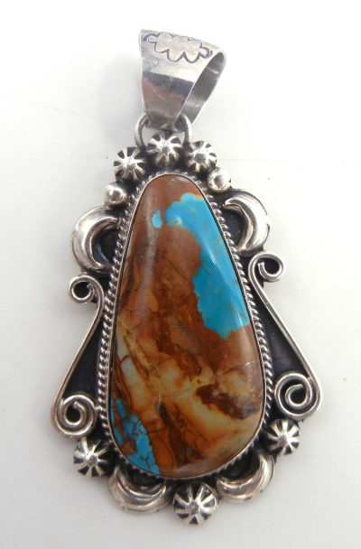Navajo Boulder turquoise and sterling silver pendant