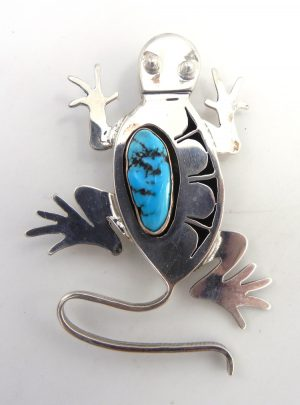 Navajo sterling silver and turquoise shadowbox style lizard pin/pendant by Bennie Ration
