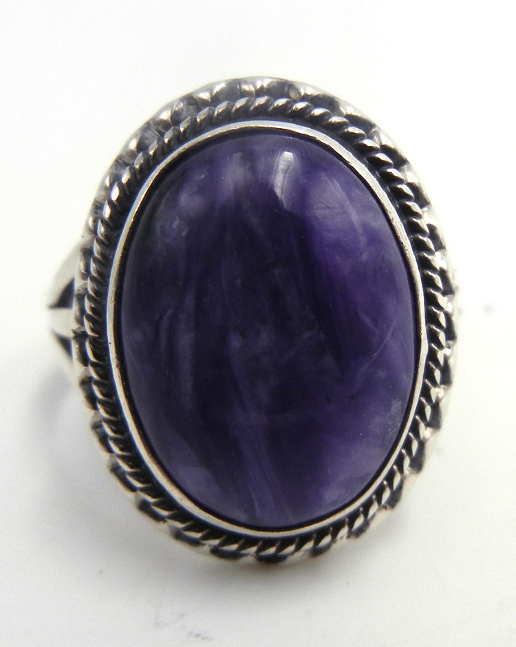 Navajo charoite and sterling silver ring by Will Denetdale