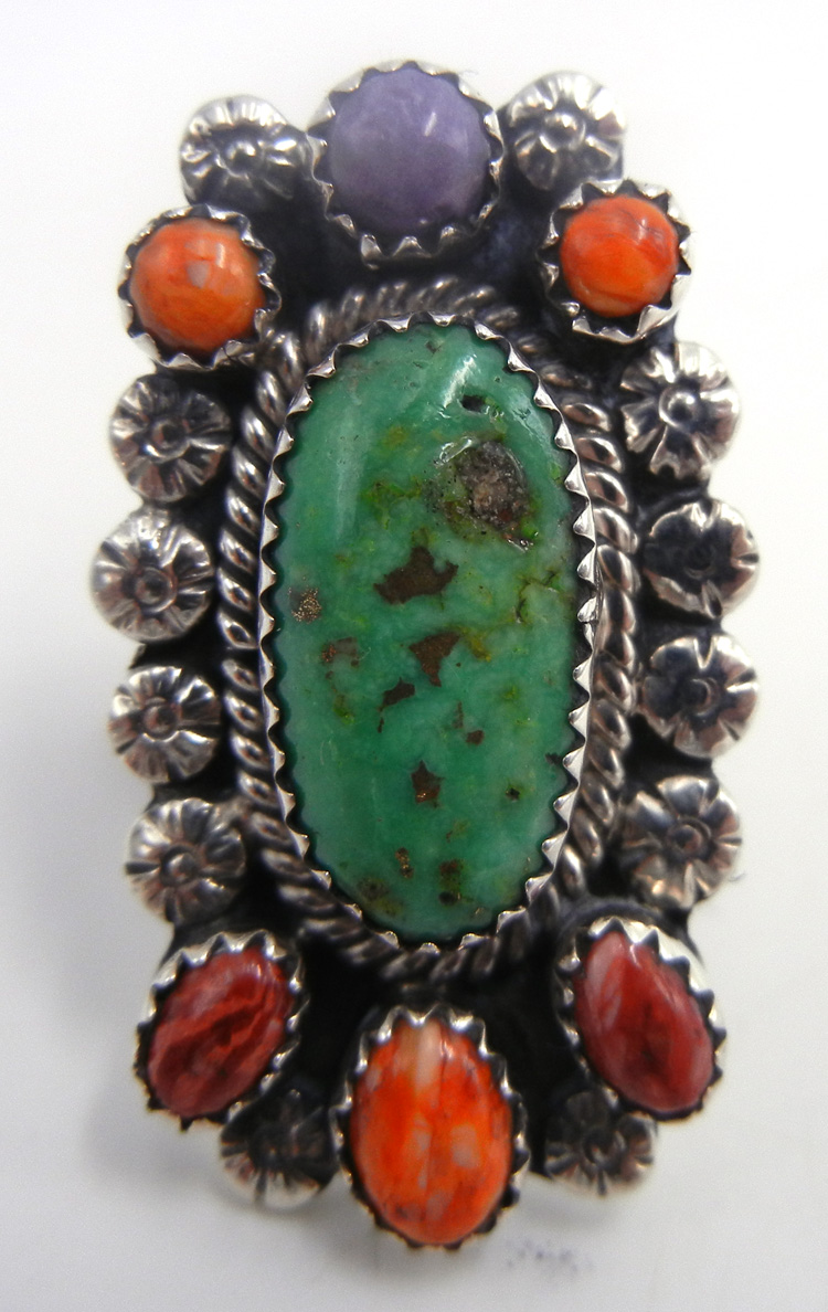 Navajo multi-stone and sterling silver cluster ring by James Martin