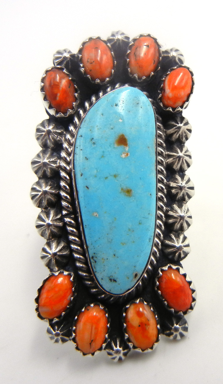 Navajo turquoise, orange spiny oyster and sterling silver cluster ring by James Martin