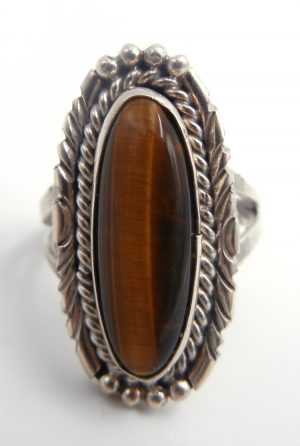 Navajo tiger eye and sterling silver ring