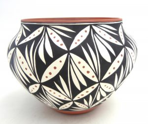 Acoma polychrome handmade and hand painted bowl with plant designs by Loretta Garcia