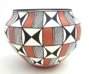 Acoma handmade and hand painted polychrome butterfly design jar by Loretta Garcia