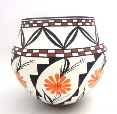 Acoma handmade and hand painted polychrome olla by David Antonio