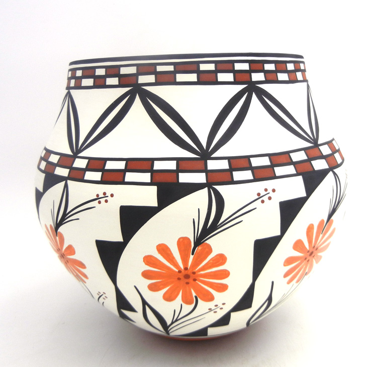 Acoma handmade and hand painted polychrome olla by David Antonio
