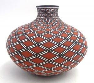 Acoma handmade and hand painted polychrome eyedazzler design squat vase by Paula Estevan