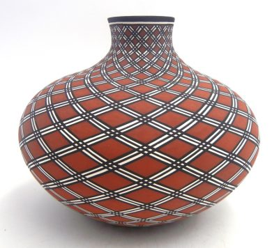 Acoma handmade and hand painted polychrome eyedazzler design squat vase by Paula Estevan