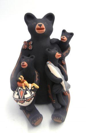Jemez black bear figurine with three cubs and fish by Carol Lucero Gachupin
