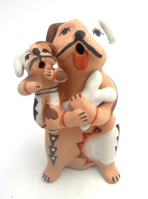 Jemez dog storyteller with one puppy and bone by Emily Fragua Tsosie