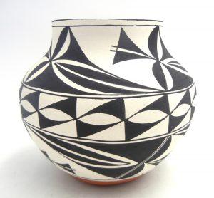 Laguna handmade and hand painted weather pattern jar by Lee Ann Cheromiah