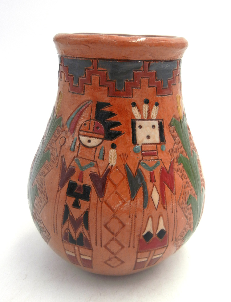 Navajo pine pitch Yei and Yeibichai vase by Kenneth and Irene White