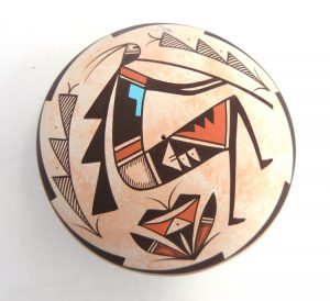 """Navajo polychrome """"flute player"""" (kokopelli) seed pot by Westly Begay"""
