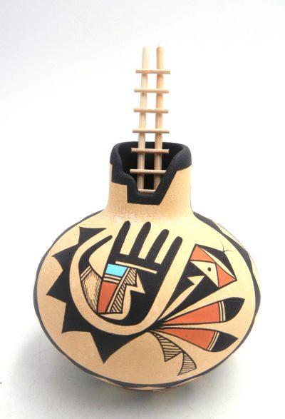 "Navajo polychrome ""healing hand"" jar by Westly Begaye"