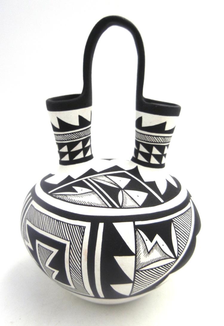 Navajo handmade and hand painted black and white wedding vase by Westly Begaye