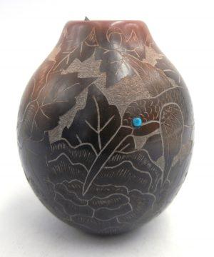 Santa Clara small etched and polished vase by Gwen Tafoya
