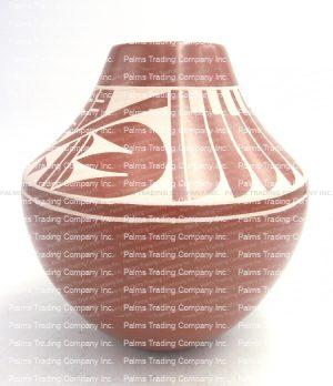 San Ildefonso White on Red Polished Vase by Martha Appleleaf