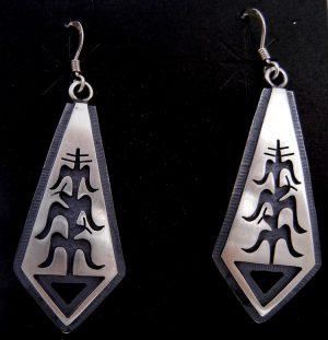 Hopi sterling silver overlay cornstalk dangle earrings