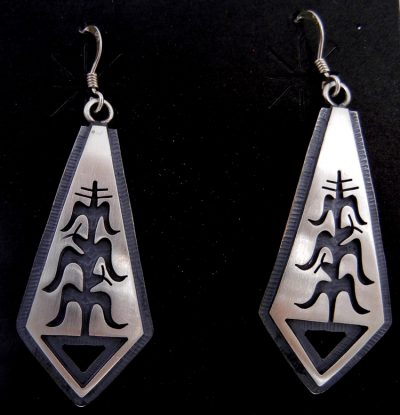 Hopi sterling silver overlay cornstalk dangle earrings