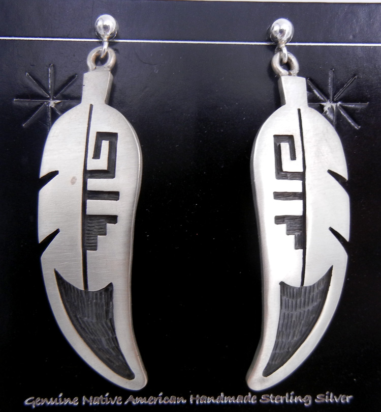 Hopi sterling silver overlay feather earrings