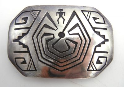 Navajo sterling silver overlay man in the maze belt buckle