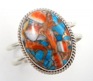 Navajo compressed turquoise and orange spiny oyster shell cuff bracelet with sterling silver accents by Leonard and Raquel Hurley