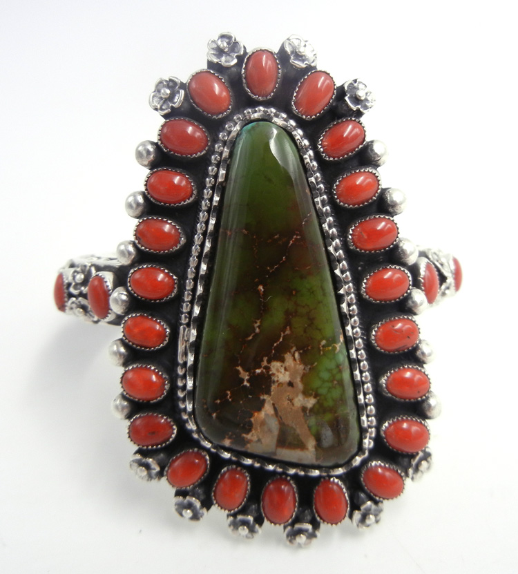 Navajo Hemerson Brown green Royston turquoise, Mediterranean coral and sterling silver cuff bracelet by Hemerson Brown