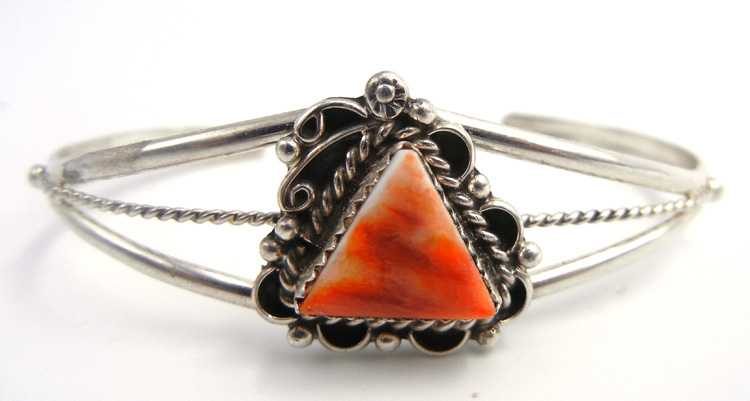 Navajo orange spiny oyster shell and sterling silver cuff bracelet