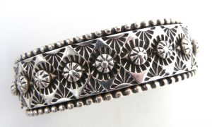Navajo heavy gauge sterling silver hand stamped and applique cuff bracelet by Johnathan Nez