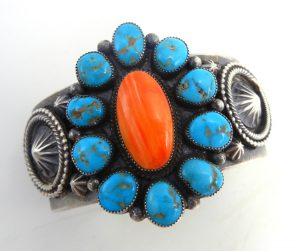 Navajo turquoise, orange spiny oyster shell and sterling silver rosette cuff bracelet by Hemerson Brown