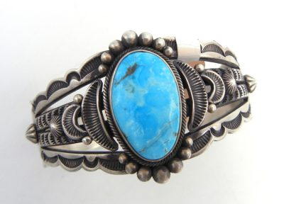 Navajo Kingman turquoise and brushed sterling silver cuff bracelet by Aaron Toadlena