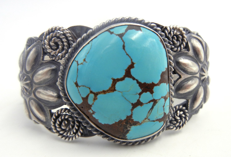 Navajo turquoise and sterling silver cuff bracelet by Robert Johnson
