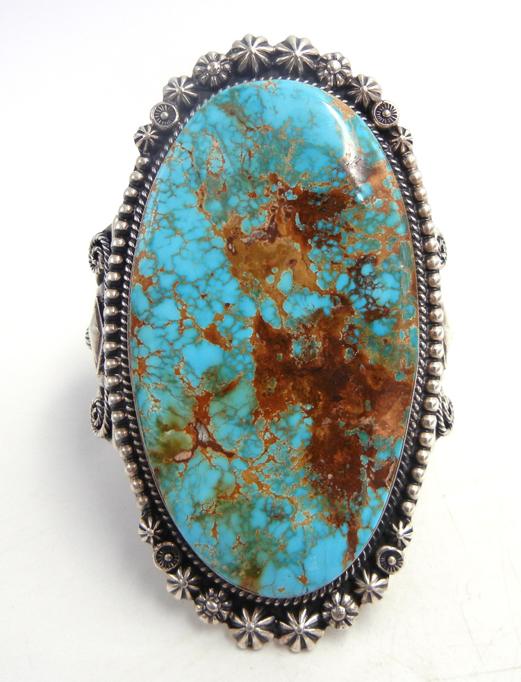 Navajo large Royston turquoise and sterling silver cuff bracelet by Will Denetdale