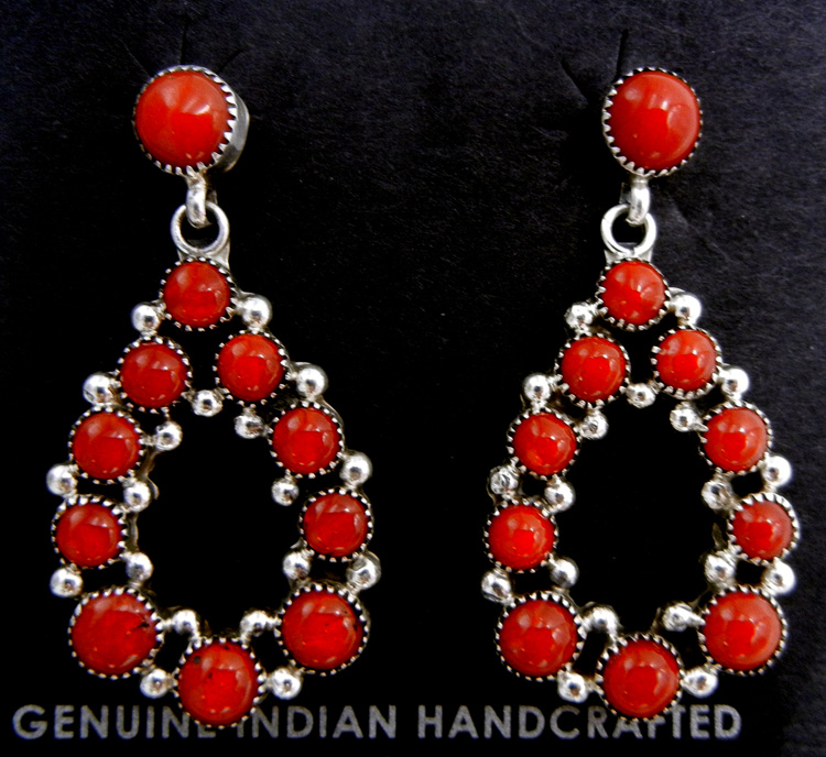 Navajo coral and sterling silver tear drop dangle earrings