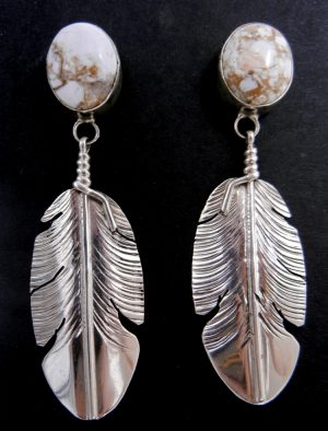 Navajo Dry Creek Turquoise and sterling silver feather dangle earrings by Ben Begay